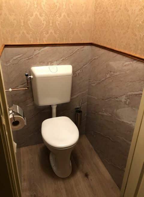 Toilet renovatie marmer pvc